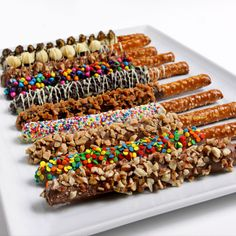 Gourmet Chocolate Dipped Pretzels - it's not rocket science to make these, and they're really cute.
