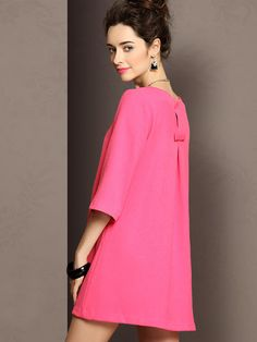 Rose Half Sleeve Shift Dress With Back Pleat | Choies