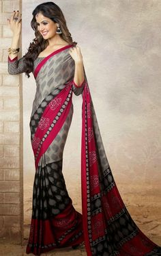 Picture of Glorious Grey, Black and Deep Pink Color Printed Saree
