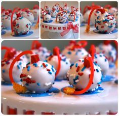 Pure awesome! Red, white and blue cake bombs perfect for 4th of July. #food #cake #cakeballs #cakebombs #July4 #FourthofJuly #bites