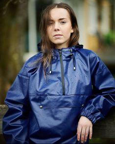 Blue Raincoat, Rain Suit, Rain Jacket Women, Rain Wear, Windbreaker, Pullover, How To Wear, Rain Coats, Vinyls