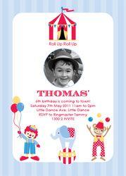 Retro Circus Themed Birthday Party Invitation