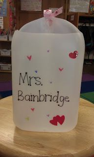 This is cute and could decorated to the nines! Milk jug Valentine card holder.