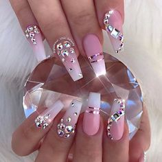 Those nails look so cute can't wait to try them ok mine. Are you looking for acrylic nail designs for summer fall and winter? See our collection full of acrylic nail designs and get inspired! Pink Bling Nails, Bling Nail Art, Pink Acrylic Nails, Rhinestone Nails, Fancy Nails, Trendy Nails, Swarovski Nails, Shellac Nails, Pastel Nails