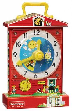 Introduced in 1968, the Fisher-Price Music Box Teaching Clock has made learning to tell time fun for generations of children. Designed as a little red school house, the Fisher-Price Classic Music Box Teaching Clock plays Grandfathers' Clock and has a rotating dial with timeless pictures of preschoolers hour by hour, as the clock face and minute hand revolve to the soothing ticking of time! For ages 12 months and up.