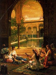 Simple entertainments of life: Female musicians playing for the lady. Alhambra Courtyard, Al-Andalus (Muslims in Spain). Medieval Islamic Era, the Golden Age. Al-Andalus by Noëlle Hugo Pacheco. Old Paintings, Beautiful Paintings, Art Arabe, Middle Eastern Art, Arabian Art, Arabian Nights, Moorish, North Africa, Art Plastique