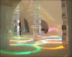 Ice Hotel Canada - Quebec. All structures, furniture, serveware, etc. is made of ice, including beds!