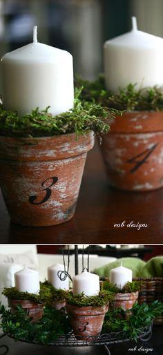 Chandelles dans un pots TERRACOTA idée pour vos centres de tables pour toute…
