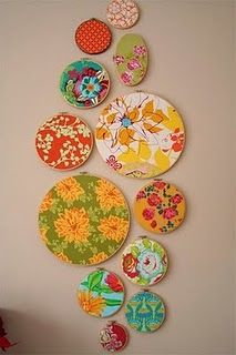 Over my bed....getting ideas and this would be super cool to create a design using various embroidery hoop sizes!