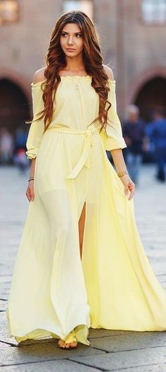 #spring #summer #fashion #outfitideas Yellow Maxi Dress