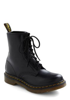 I Like How You Lean Boots by Dr. Martens - Leather, Low, Black, Military, Vintage Inspired, 90s, Lace Up