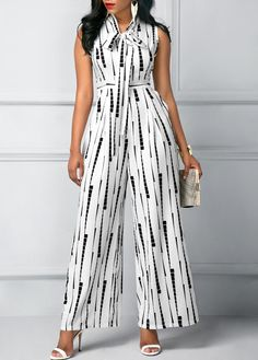 Tie Neck Sleeveless High Waist Printed Jumpsuit - Trend Way Dress Modest Fashion, Fashion Dresses, White Jumpsuit, Printed Jumpsuit, White Romper, African Dress, Jumpsuits For Women, Stylish Outfits, Work Outfits