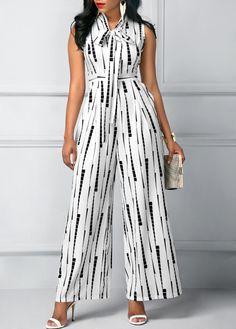 Sleeveless High Waist Printed White Jumpsuit | Rosewe.com - USD $34.88