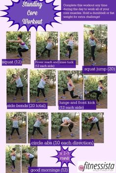 Here's a little standing core workout I put together. It's intended to be completed circuit-style, moving quickly from one exercise to the next. If you'd like, you can hold a dumbbell or flat weight for many of the exercises to make it even more challenging. | Ab Workouts At Home | The Fitnessista Core Workout Routine, Workout Routines For Women, Workout Challenge, At Home Workouts, Workout Motivation, Ab Workouts, Workout Bodyweight, Workout Exercises, Workout Ideas