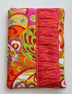 Orange, Pink Paisley Kindle, eReader, Nook Zipper Pouch - Pink Ruffle - Ready to Ship. $15.00, via Etsy.