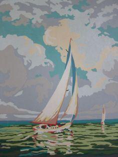 Vintage-Paint-by-Number-SAILBOATS-Oak-Frames-Mid-Century-Nautical-PBN-Pair-NICE Number Art, Paint By Number Kits, September Crafts, Sailboat Painting, Pulp Fiction Art, Colouring Pics, My Art Studio, Antique Paint, Vintage Wall Art