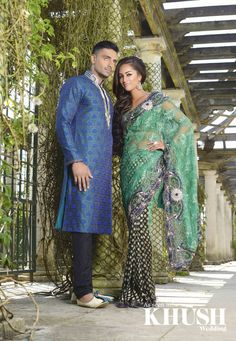 (L) - two tone printed Kurta with black trousers by Traditions   (R) - Green  blue lace/ printed sari by Traditions   T: +44(0)208 821 0079  E: sales@traditionsonline.co.uk W: traditionsonline.co.uk  As seen in the Autumn 2013 Issue of Khush Wedding Magazine