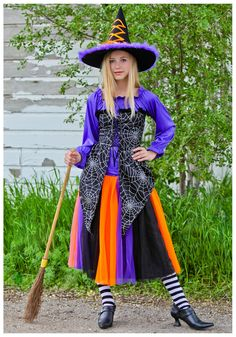 witch costume | Colorful Teen Witch Costume - Halloween Witch Costumes