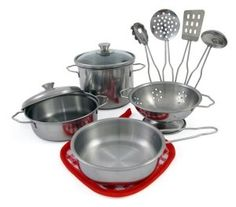 Toy Cookware - Liberty Imports Metal Pots and Pans Kitchen Cookware Playset for Kids with Cooking Utensils Set * Check out the image by visiting the link. Kitchen Playsets, Toy Kitchen, Kitchen Sets, Kitchen Tools, Pretend Play Kitchen, Pretend Food, Cooking Utensils Set, Thing 1, Stainless Steel Metal