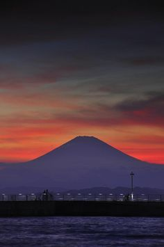 Mount Fuji at Sunset, as seen from Enoshima_ Japan