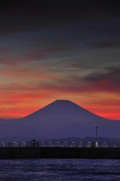 Mount Fuji at Sunset, as seen from Enoshima_ Japan