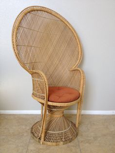 Vintage Peacock Chair with Original Tufted Chair Pad by JMandKM, $200.00