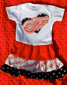 Detroit Red Wings Baby Dress....must have....even though I don't have a baby girl yet....I will save it....
