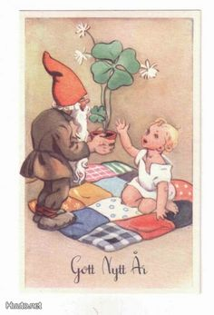 Martta Wendelin, Tonttuu bringing luck to the new year symbolizes by a baby Christmas Fairy, Vintage Christmas, Christmas Cards, Baumgarten, Christmas Inspiration, Vintage Postcards, Picture Quotes, Elves, Troll