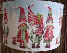 Christmas Lampshade Xmas Decoration Santa's Helpers Shabby Chic Christmas lights Free Gift