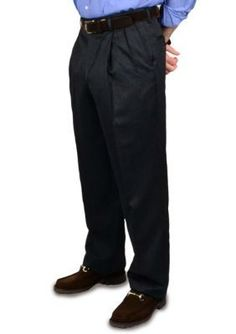 BERLE Charcoal Wool Self Sizer Waistband Trousers