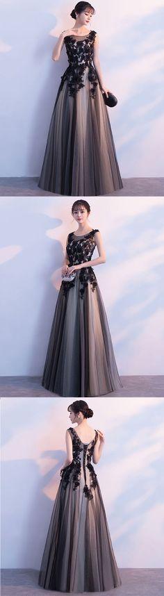 Black tulle round neck long prom dress,black evening dress
