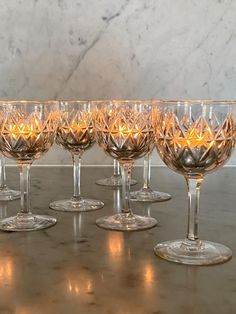 Set of 19th Century crystal sherry glasses - Decorative Collective