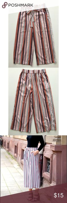 Zara Striped Culottes Super fun pink striped culottes from Zara. Lightweight with an elastic waist perfect for lounging around this summer! Zara Pants Ankle & Cropped