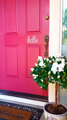 DIY Front Door Makeover | http://wallums.com/blog/new-designs/diy-hello-door-decal-before-and-after/