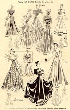 """""""Gay, Full-Skirted Frocks to Dance In,"""" Weldons Catalogue of Fashions, autumn/winter 1939-40. Love this retro!"""