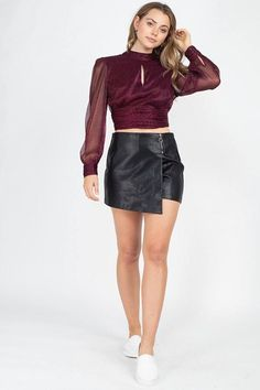 Zipper Trim Sheeny Mini Skirt | KjSelections Blouse And Skirt, Jacket Dress, Boutique Clothing, Fashion Boutique, Bra And Panty Sets, Sweater And Shorts, Spring Dresses, Skort, Casual Wear