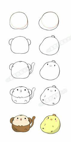 堆 堆 - 美好 生活 生活 - Doable DIY Cards - idee di Tatuaggio Kawaii 💫 Doodle Art, Doodle Drawings, Drawing Sketches, Drawing Tips, Drawing Drawing, Cute Easy Drawings, Kawaii Drawings, Cartoon Drawings, Cute Animal Drawings