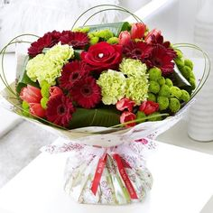 True Love Hand-tied #Bouquet #Roses #Carnations #ValentinesDayFlowers