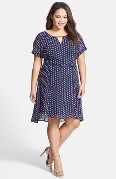 Halogen® Print Elliptical Hem Belted Dress (Plus Size) available at #Nordstrom