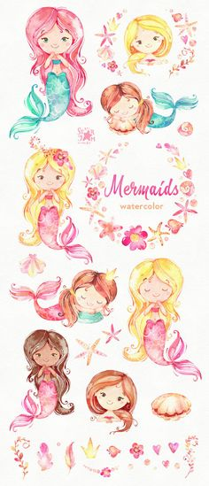 This set of Mermaids watercolor set is just what you needed for the perfect invitations, craft projects, paper products, party decorations, printable, greetings cards, posters, stationery, scrapbooking, stickers, t-shirts, baby clothes, web designs and much more. :::::: DETAILS :::::: This collection includes: - 34 Images in separate PNG files, transparent background, size approx.: 13.3-2in (4000-600px) 300 dpi RGB ::::: TERMS OF USE ::::: ► Personal or non-profit You can use our artwo...