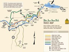 Hiking trails at Petit Jean—not exactly Northwest Arkansas but we just had to share this awesome map! Park Trails, Bike Trails, Hiking Trails, Hiking Gear, Hiking Backpack, Camping And Hiking, Backpacking, Arkansas Vacations, Arkansas Camping