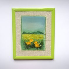 Framed picture Wall hanging Textile Art small format Embroidery painting