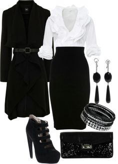 Classy. Love it all except shoes. I would out a different shoe with this outfit.
