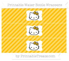 Free Amber Diagonal Striped Hello Kitty Water Bottle Wrappers