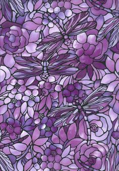 Dragonfly Floral Glass Art in pretty shades of lavender, violet & mauve! Purple Art, Purple Love, All Things Purple, Shades Of Purple, Deep Purple, Purple Stuff, Purple Fabric, Purple Glass, Purple Flowers