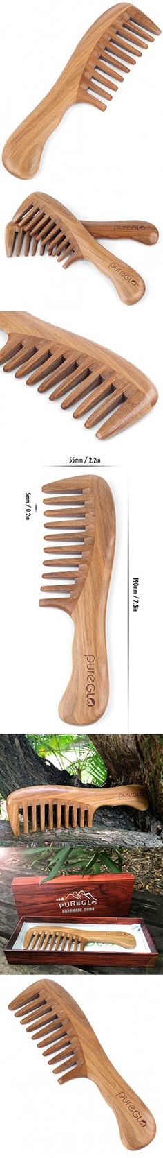 PureGLO Wood Hair Comb - Green Sandalwood Handmade Wide Tooth Wooden Thinning Combs with Natural Aroma for Detangling Thick Curly Hair
