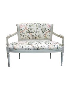"Hollyhock Directoire Settee Shown upholstered in Robert Kime ""Tree of Life"" fabric"