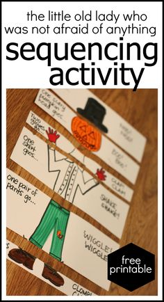 Free Printable Sequencing Activity for The Little Old Lady Who Was Not Afraid of Anything (both black and white and color versions)