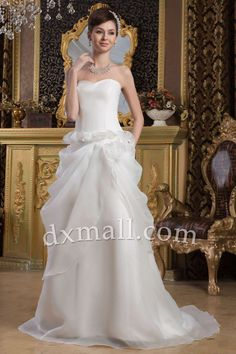 Pick Up Wedding Dresses Sweetheart Court Train Satin-organza Satin Ivory 01001090064