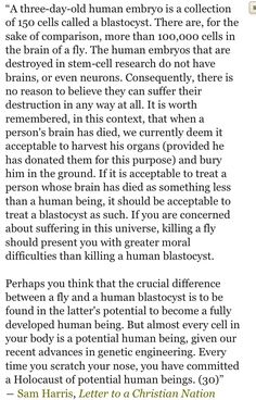 """Sam Harris on a three-day-old human embryo, science and reason versus the sacred Abrahamic idolatries..   Einstein: The worship of false gods is """"fatal"""" for human progress.  Click image!"""